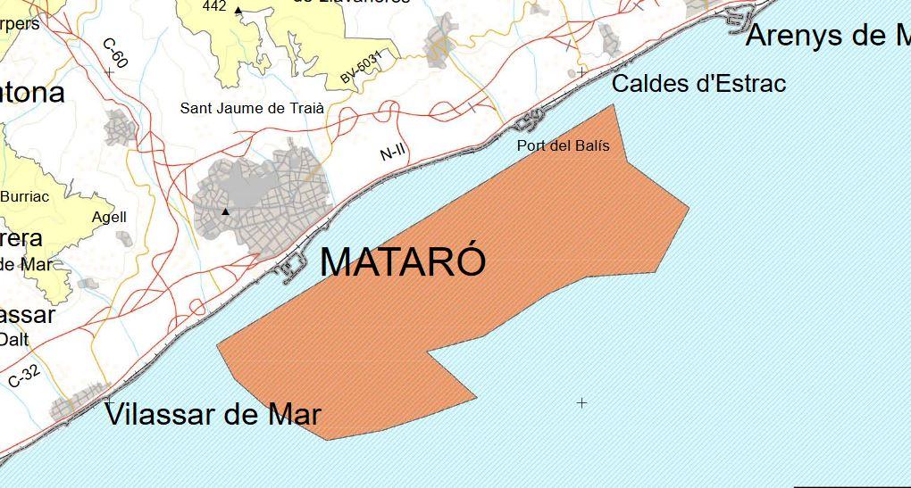 Mapa de la Costa del Maresme indicando la Zona Especial de Conservación, ZEC.