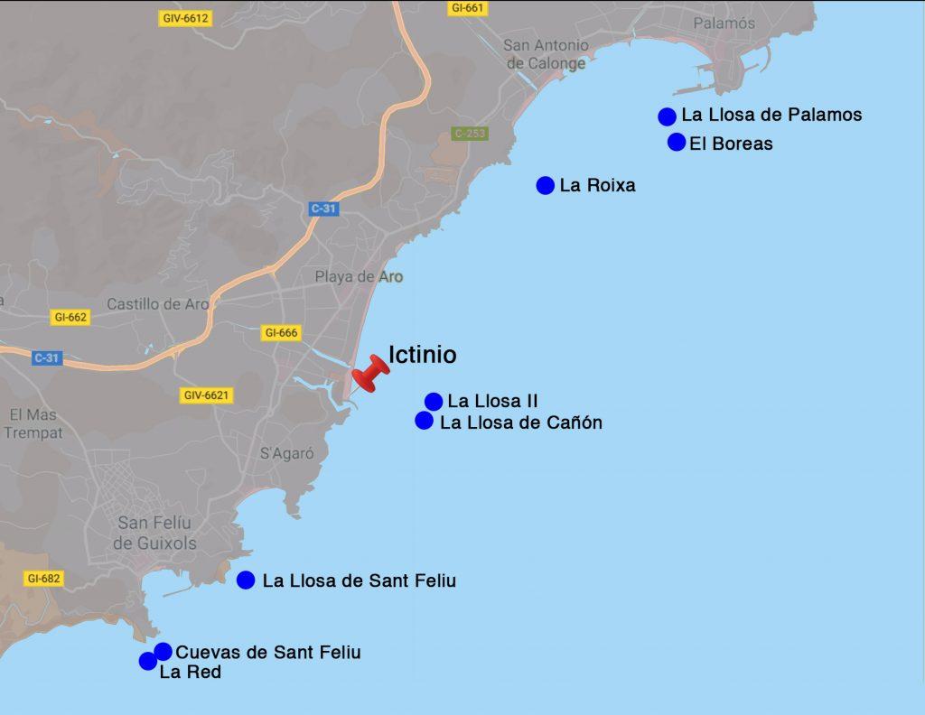 mapa de inmersiones en plataja d'aro