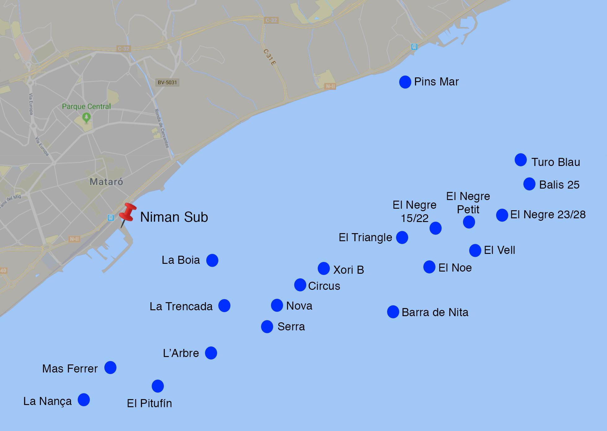 Mapa de las las mejores inmersiones en Mataró