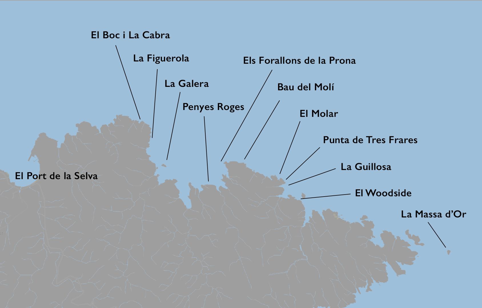 mapa de las inmersiones port de la selva